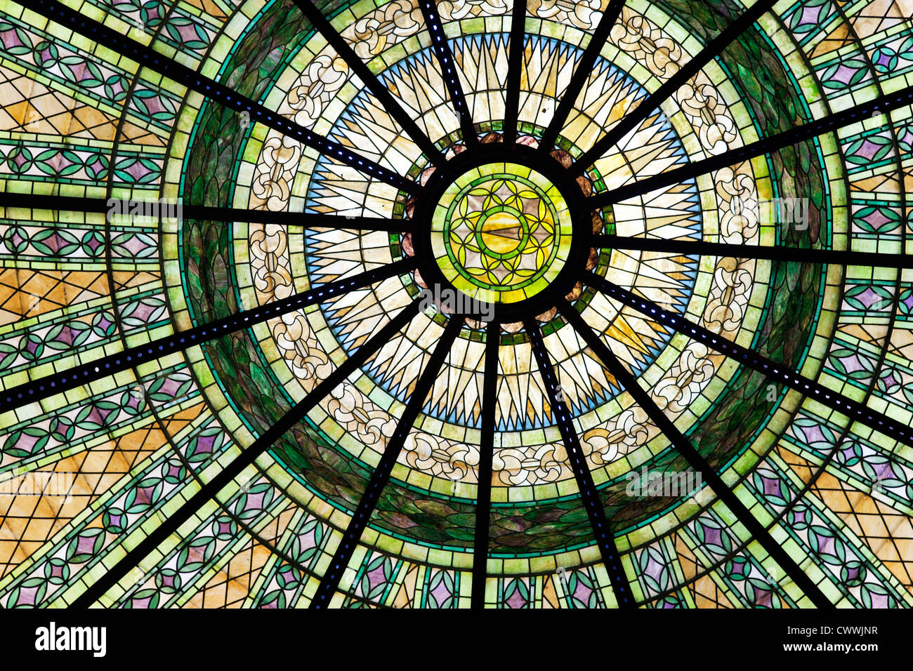 interior view segment of glorious Tiffany glass dome over rotunda of Pacific County Courthouse town of South Bend - Stock Image