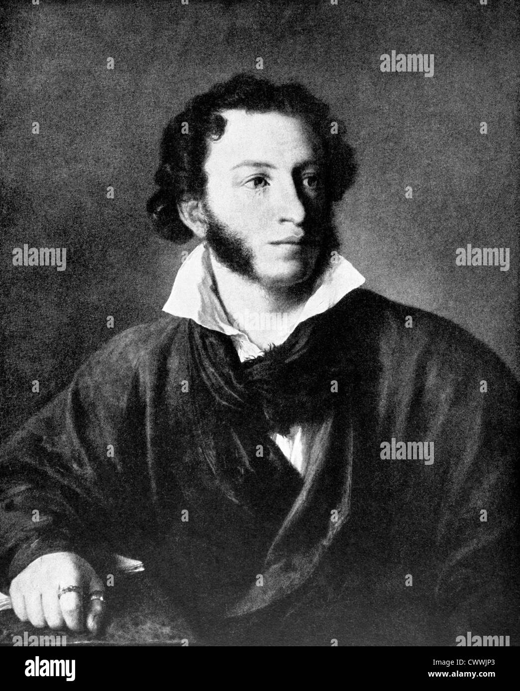 Alexander Pushkin (1799-1837) on antique print from 1899. One of the greatest Russian poets. - Stock Image