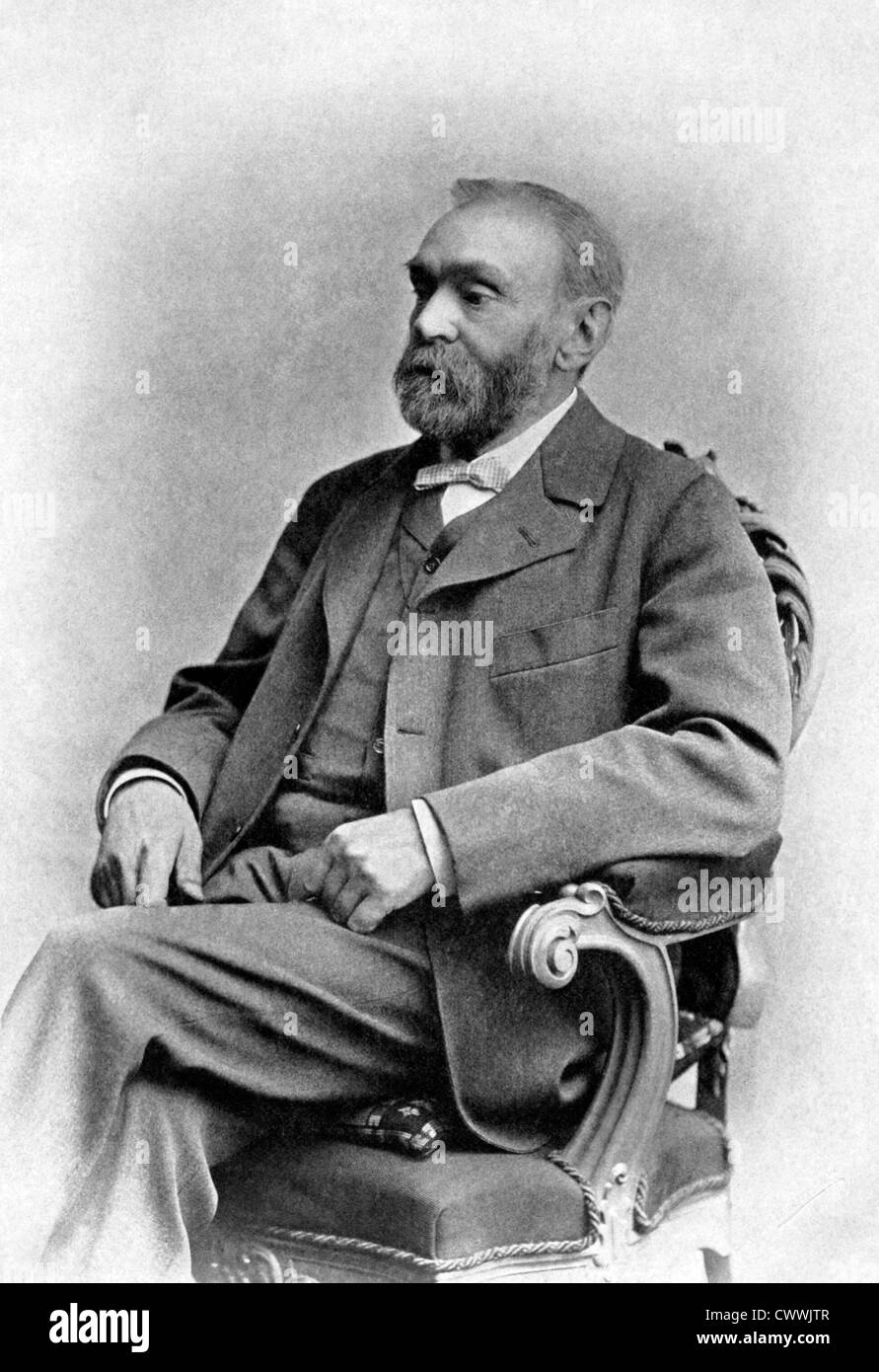 Alfred Nobel (1833-1896) on antique print from 1899.  Swedish chemist, engineer, innovator and armaments manufacturer. - Stock Image
