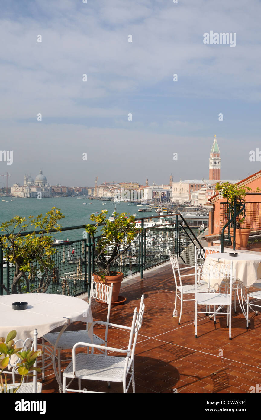 Magnificent views over the lagoon can be had from the roof terrace of the Hotel Gabrielli in Venice, Veneto, Italy - Stock Image