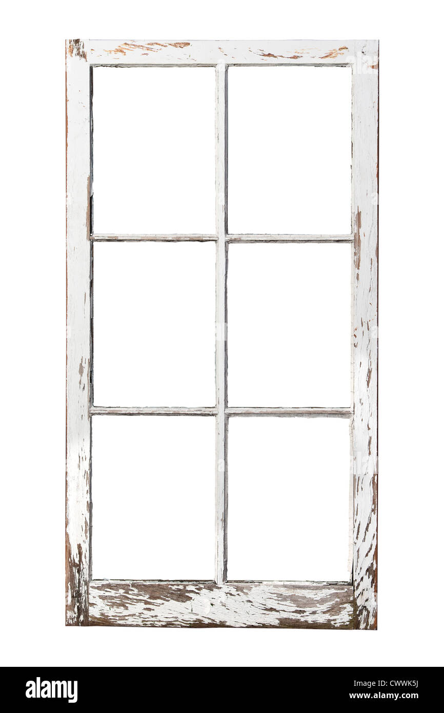 Old rustic 6 pane window - Stock Image