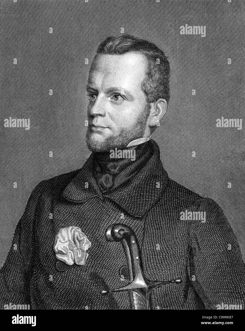 Carl Giskra (1820-1879) on engraving from 1859. Statesman of the Austrian Empire. - Stock Image