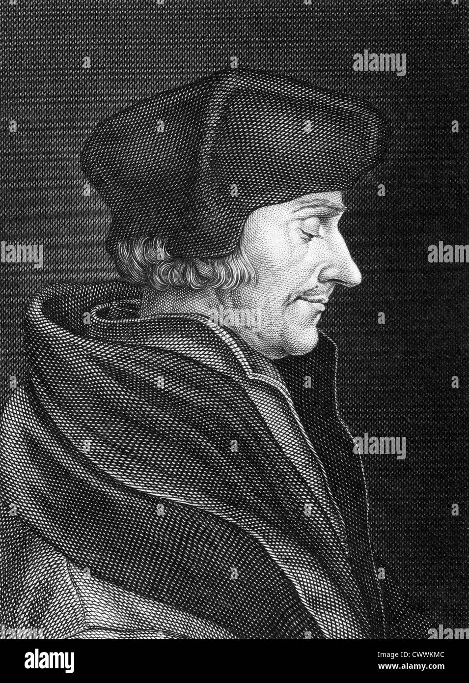 Desiderius Erasmus (1466-1536) on engraving from 1859. Dutch Renaissance humanist, priest, social critic, teacher - Stock Image