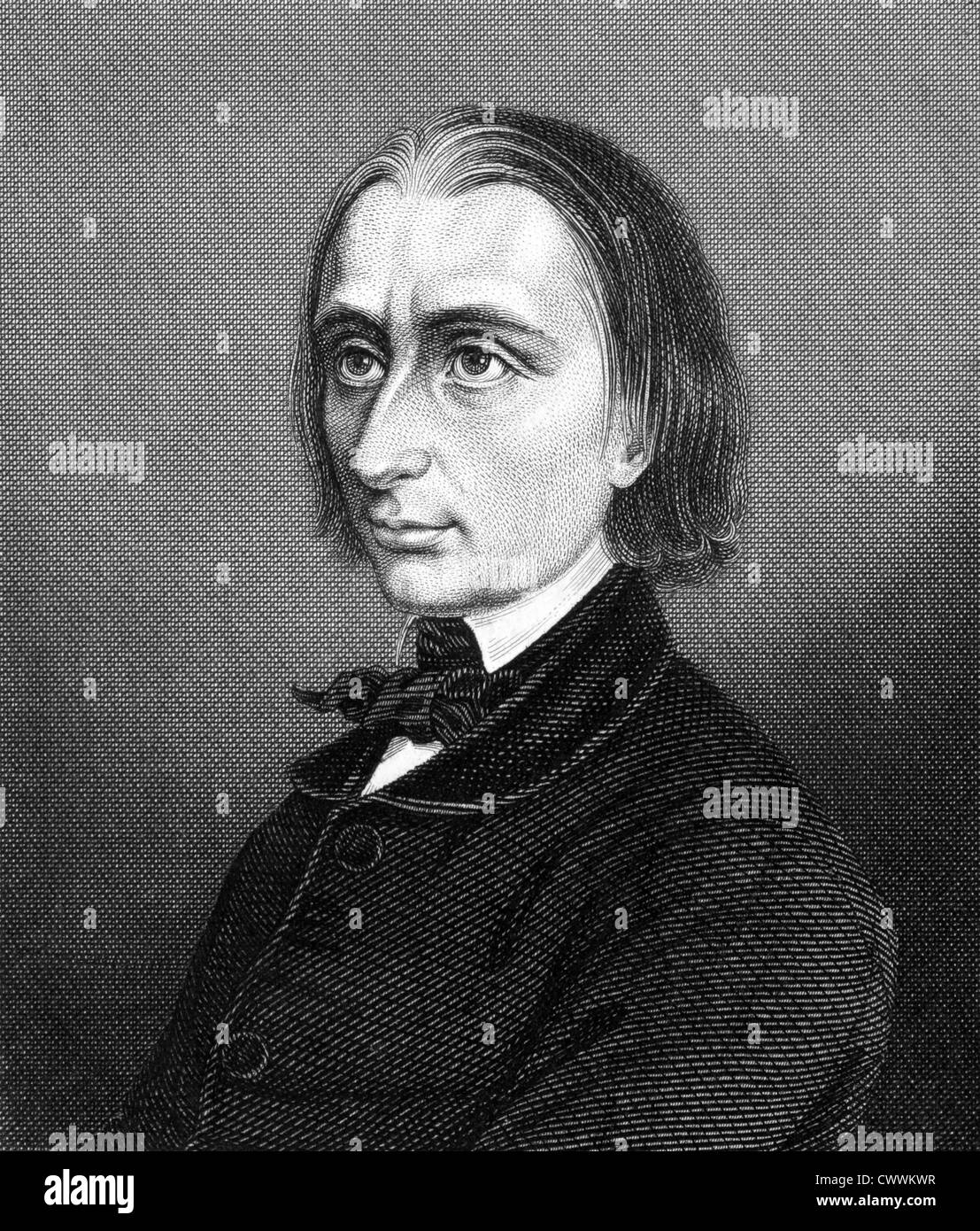Franz Liszt (1811-1886) on engraving from 1859. Hungarian composer, pianist, conductor and teacher. Stock Photo