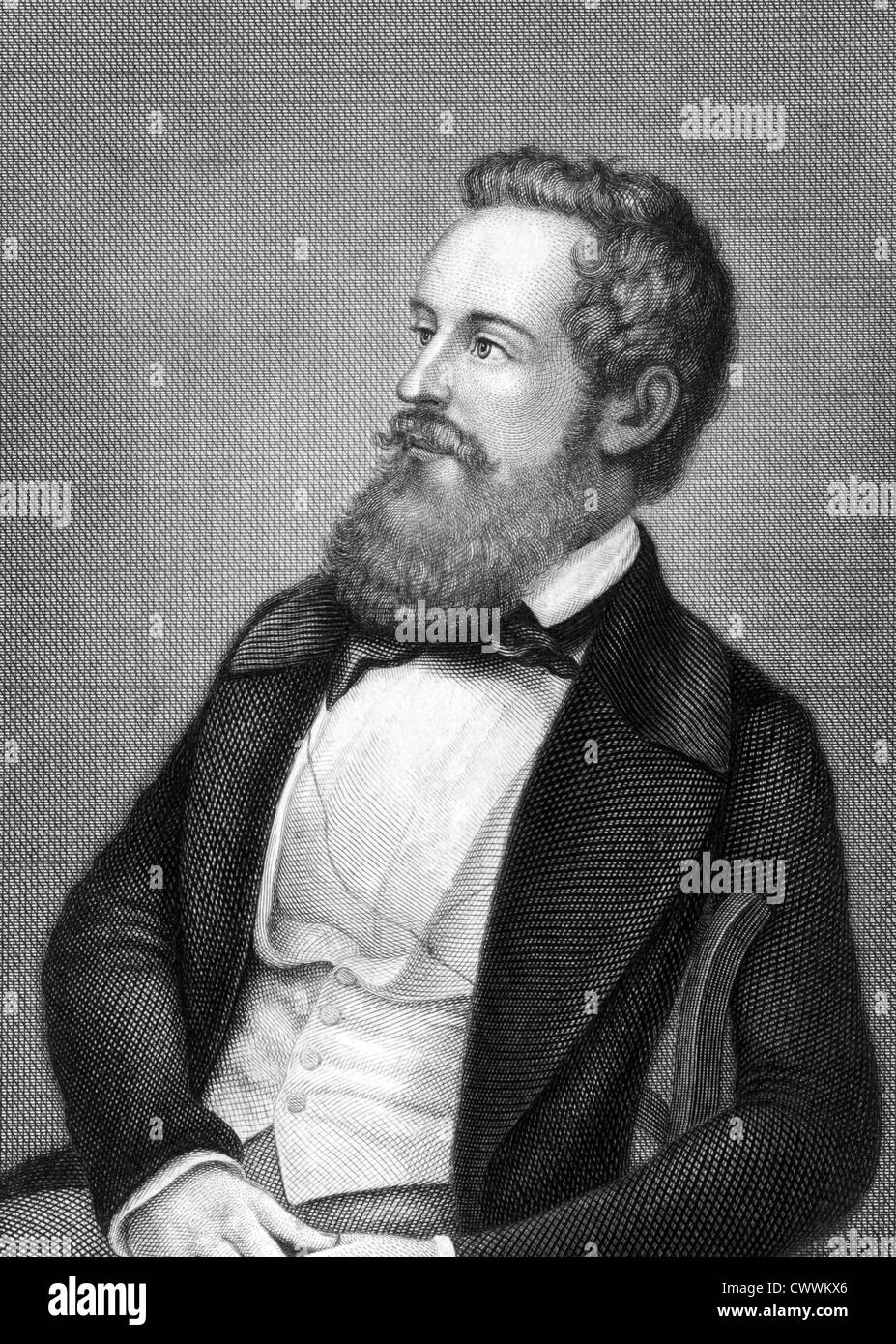Franz Schuselka (1811-1886) on engraving from 1859. Politician of the Austrian Empire. - Stock Image