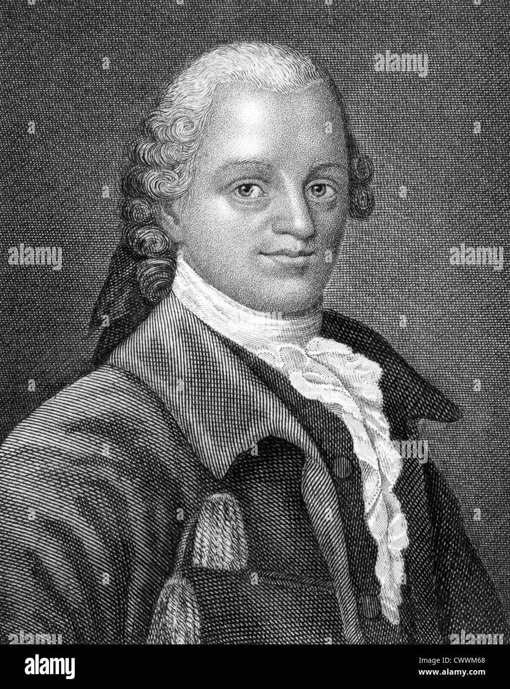 Gotthold Ephraim Lessing (1729-1781) on engraving from 1859. German writer, philosopher, dramatist, publicist and - Stock Image
