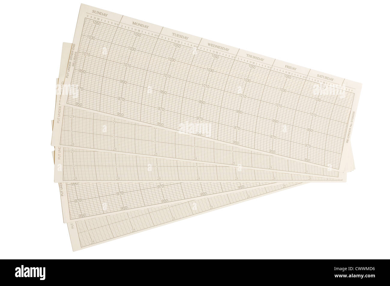Barograph chart samples in inches - Stock Image
