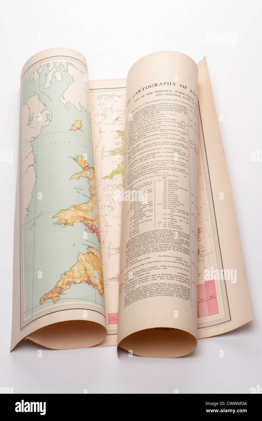 Old folded Cartography map of England. Editorial only - Stock Image
