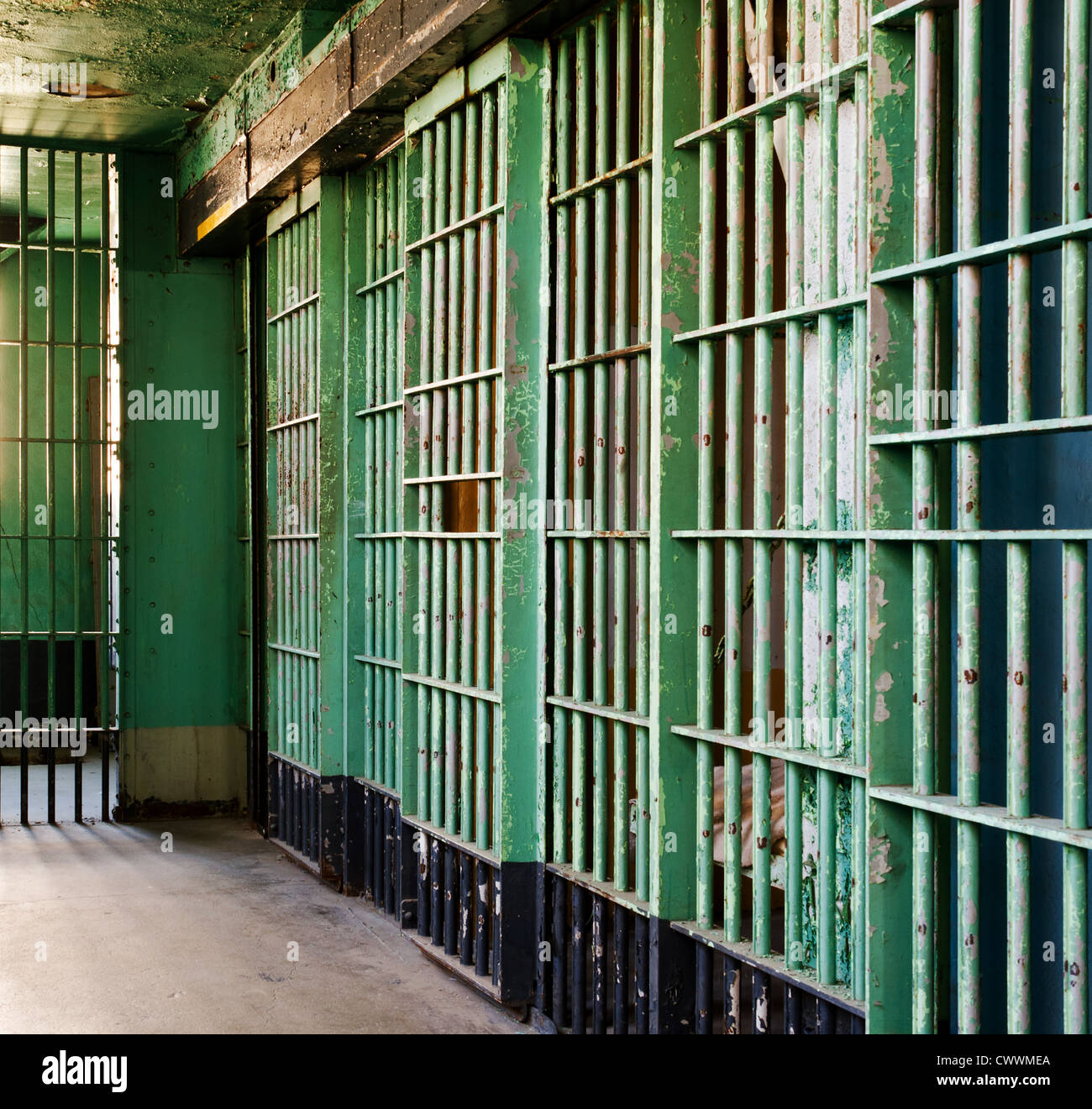 Historic old Idaho prison with a decrepit scary look to it. - Stock Image