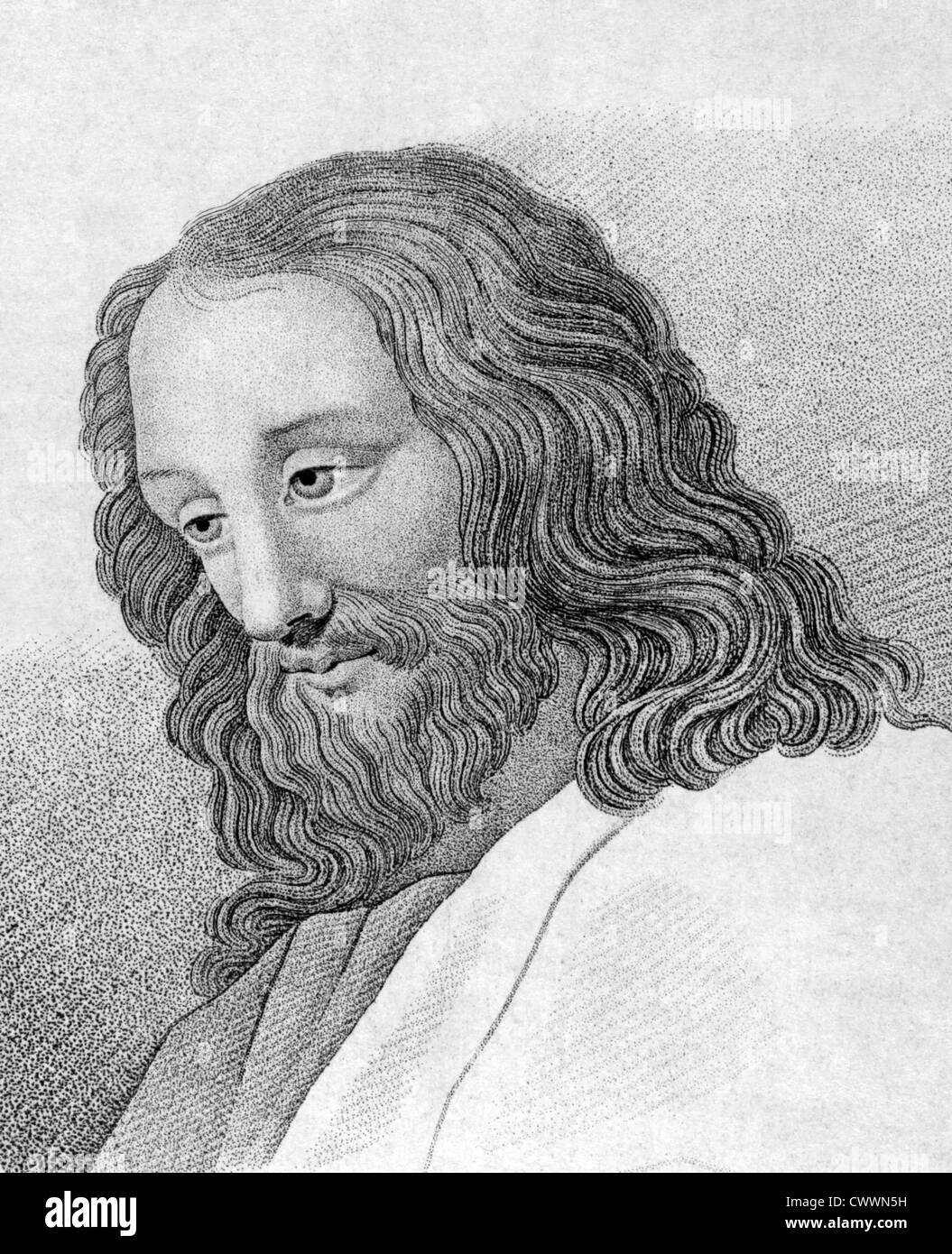 Jesus Christ on engraving from 1859. Engraved by unknown artist and published in Meyers Konversations-Lexikon, Germany,1859. - Stock Image