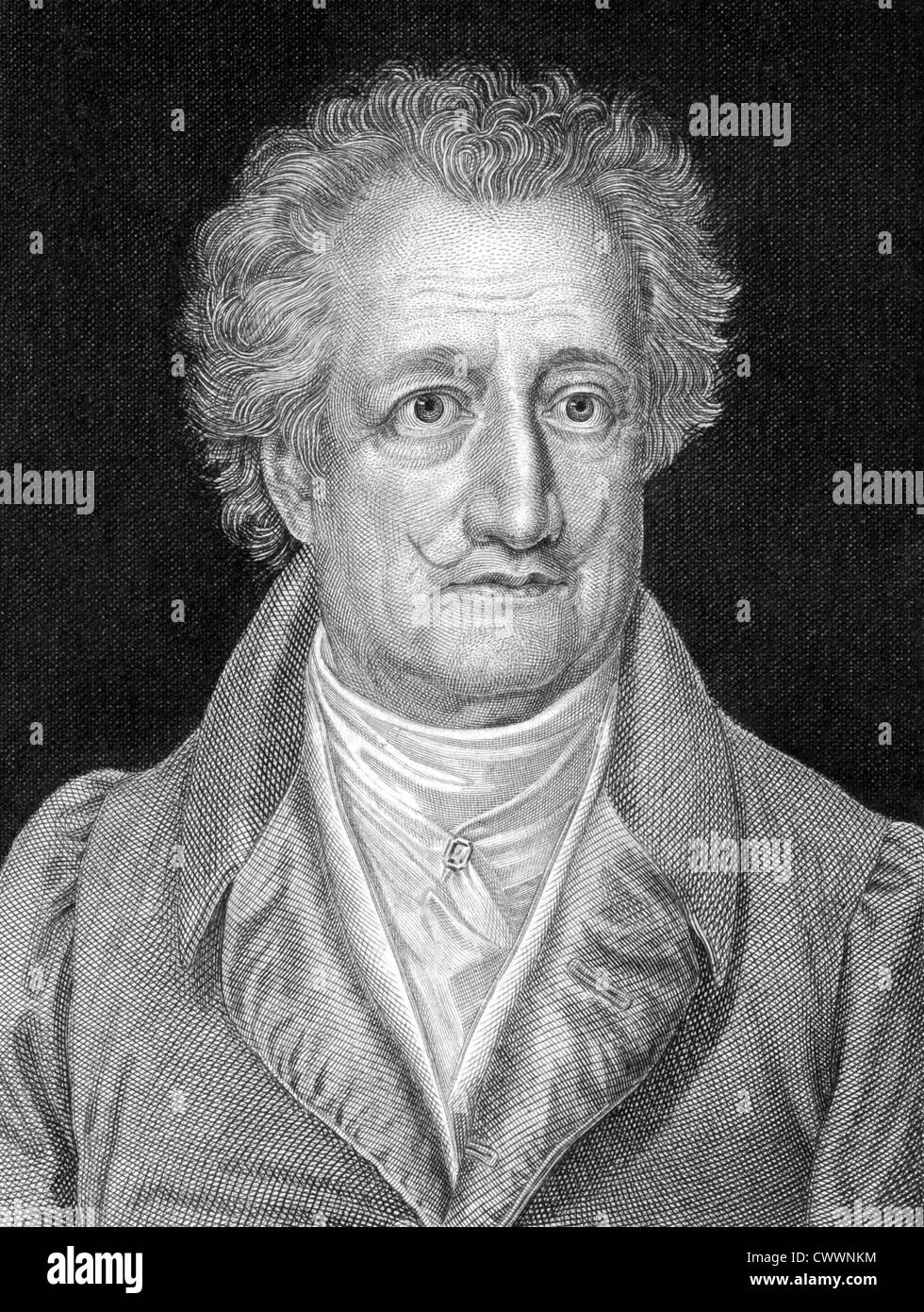 Johann Wolfgang von Goethe (1749-1832) on engraving from 1859. German writer, artist and politician. Stock Photo