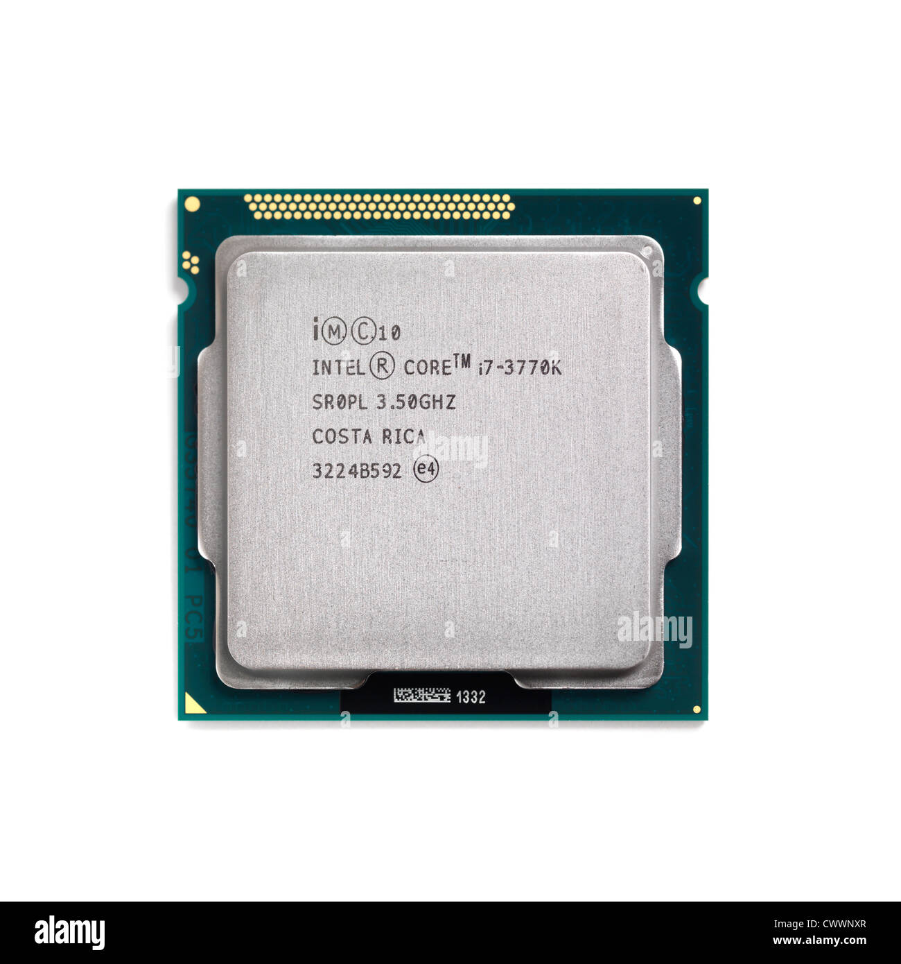 Intel Core i7 3770K processor CPU isolated on white background - Stock Image