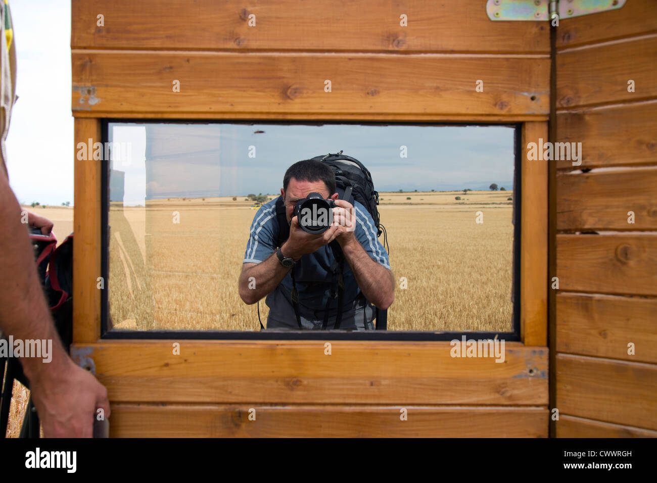 Bird Hide; Photo Logistics; mirrored glass; Spain; summer - Stock Image