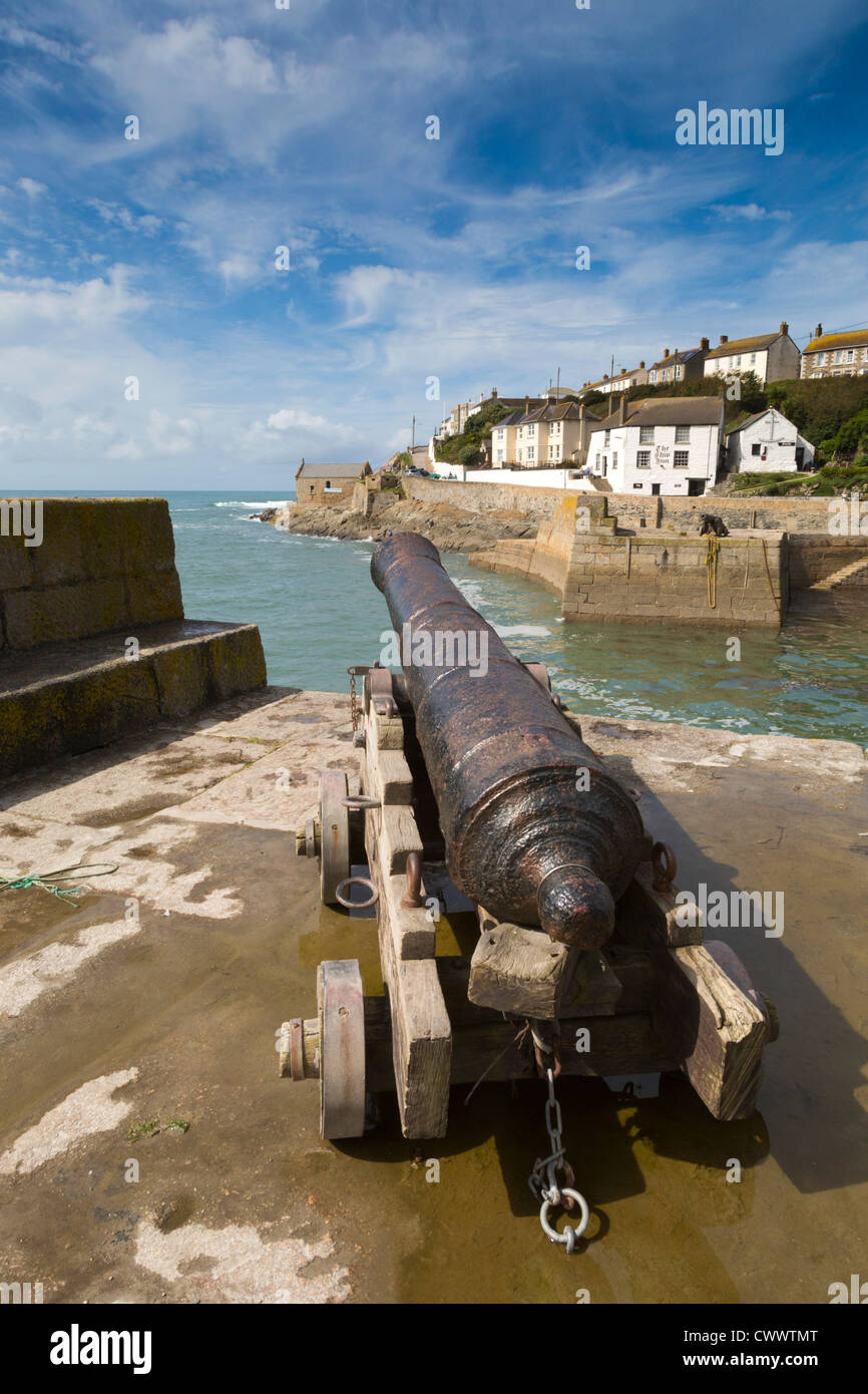 Porthleven Harbour; canon; Cornwall; UK - Stock Image
