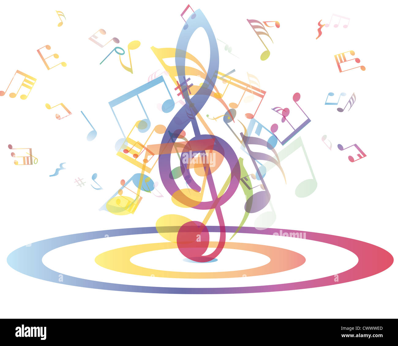 Multicolour Musical Notes Staff Background Vector Illustration With