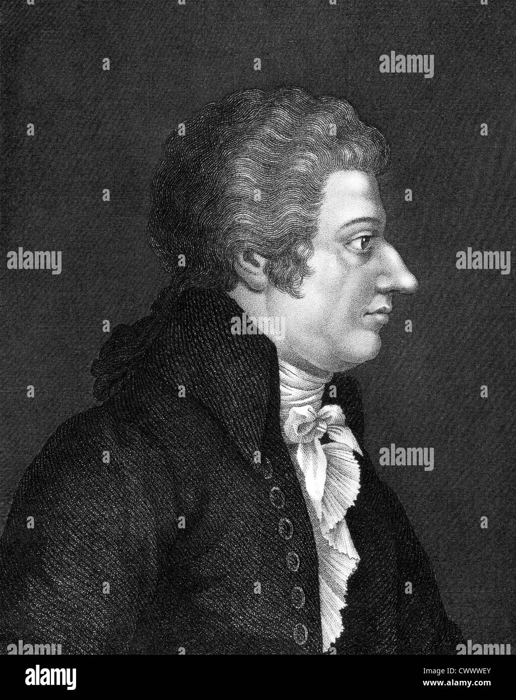 Wolfgang Amadeus Mozart (1756-1791) on engraving from 1859. One of the most significant and influential music composers. - Stock Image
