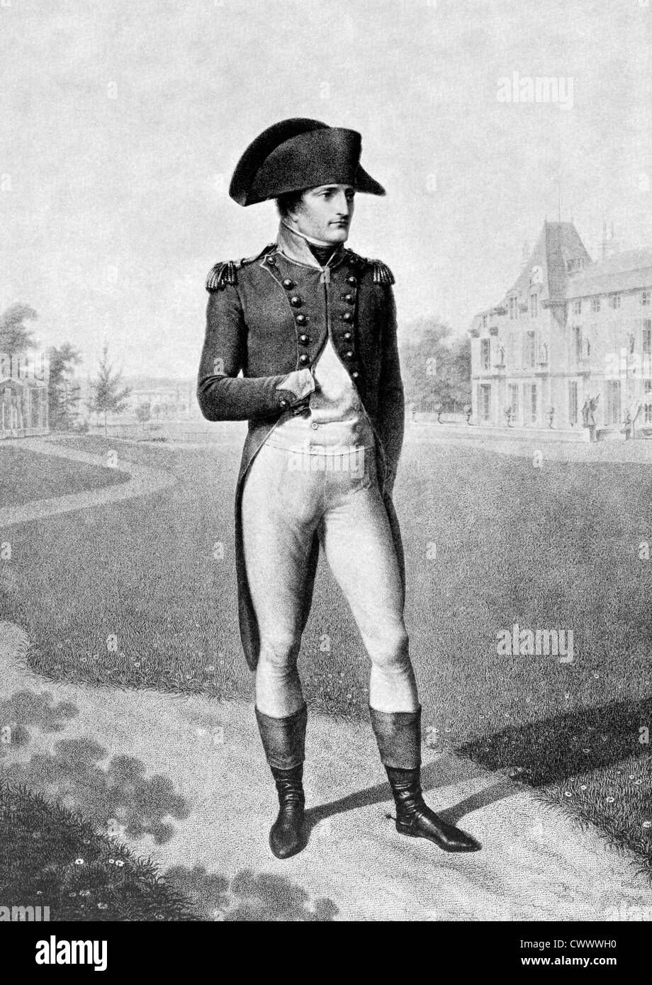 Napoleon Bonaparte (1769-1821) on antique print from 1899. Emperor of France. One of the most brilliant individuals - Stock Image