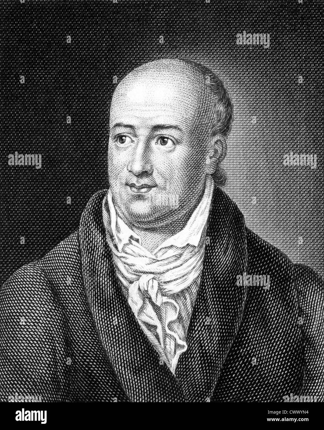 Salomon Gessner (1730-1788) on engraving from 1859. Swiss idyll poet, painter and printmaker. - Stock Image