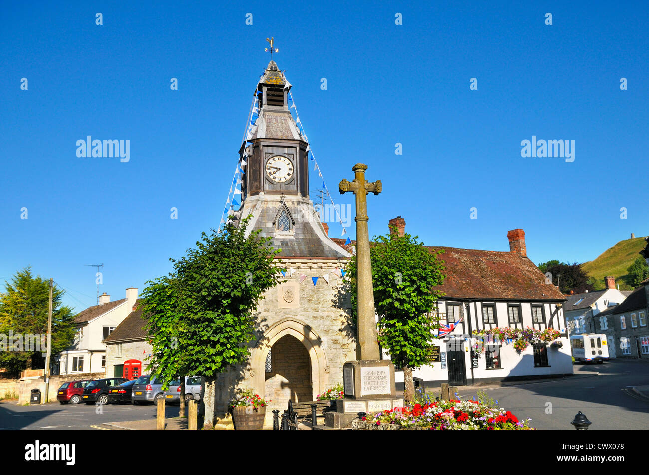 Clock tower in Mere, Wiltshire, England, UK - Stock Image