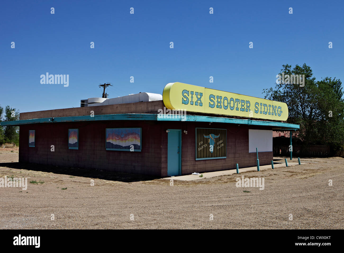 Six Shooter Siding along Route 66 in Tucumcari, New Mexico - Stock Image