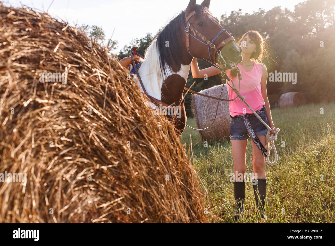 Woman walking horse in meadow - Stock Image