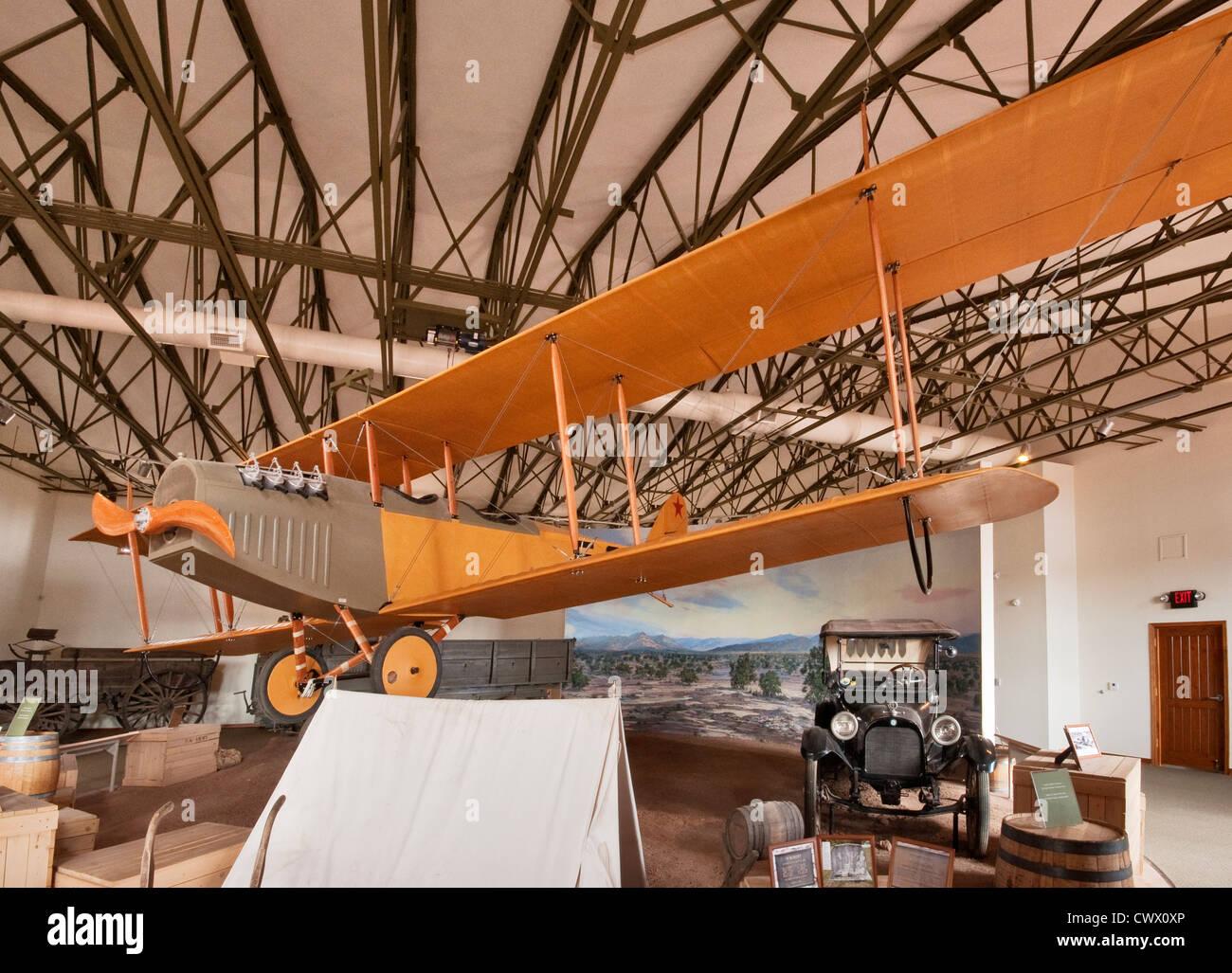 1916 Curtiss JN-3 Jenny biplane, at Exhibit Hall at Pancho Villa State Park in Columbus, New Mexico, USA - Stock Image