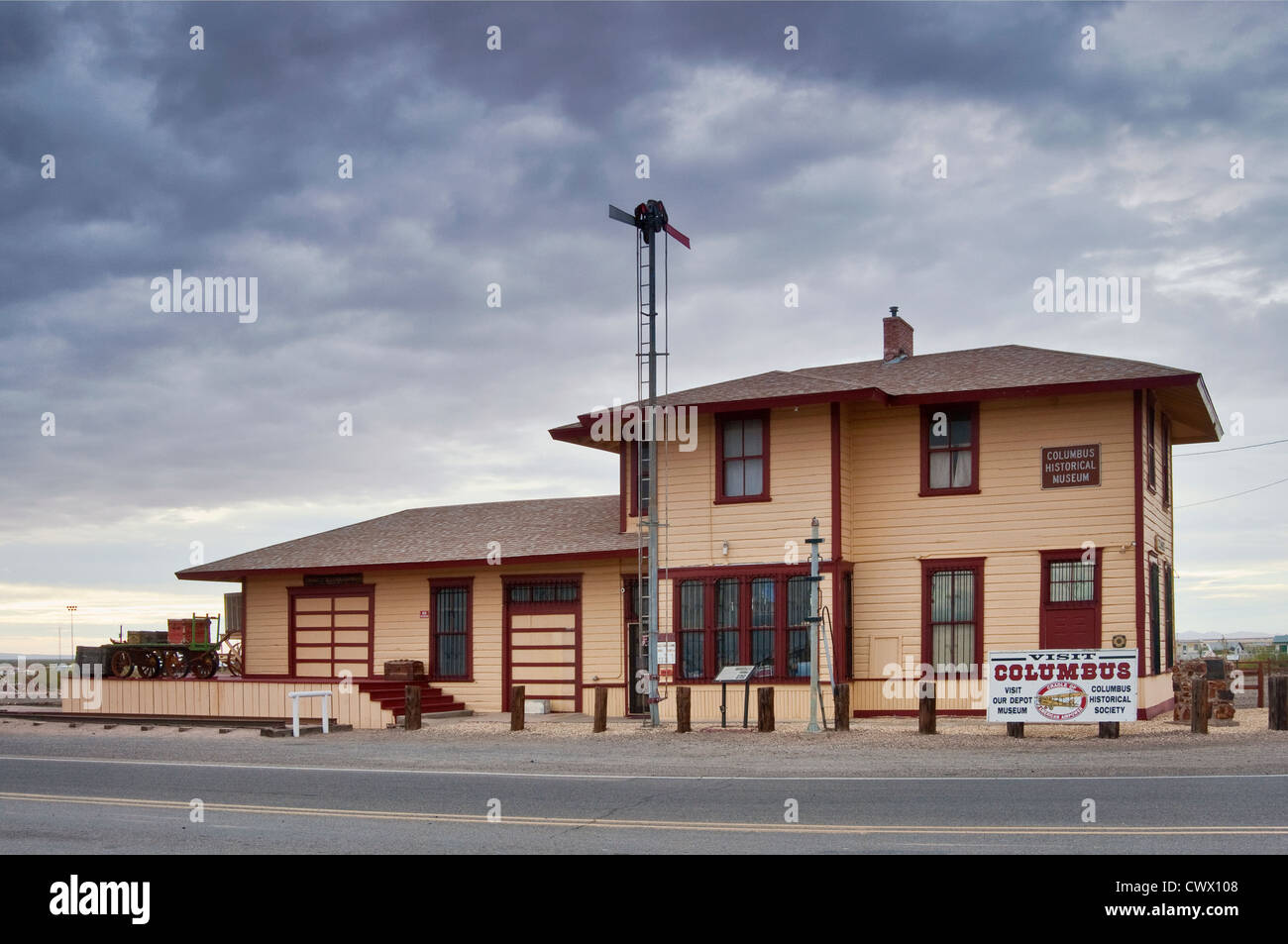 1902 Southern Pacific Railroad depot, now Columbus Historical Society Museum in Columbus, New Mexico, USA - Stock Image
