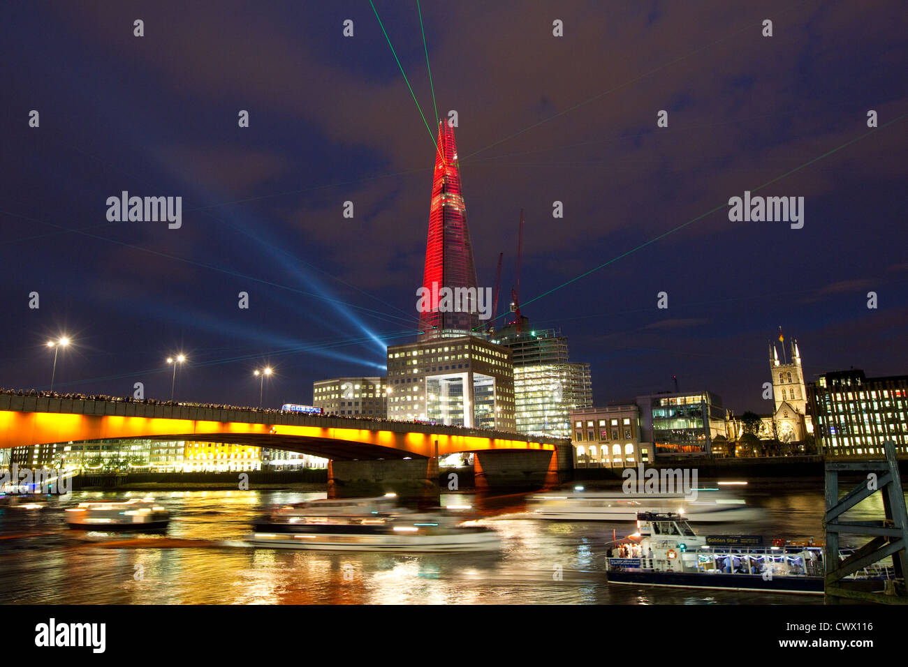 The Shard laser show - Stock Image