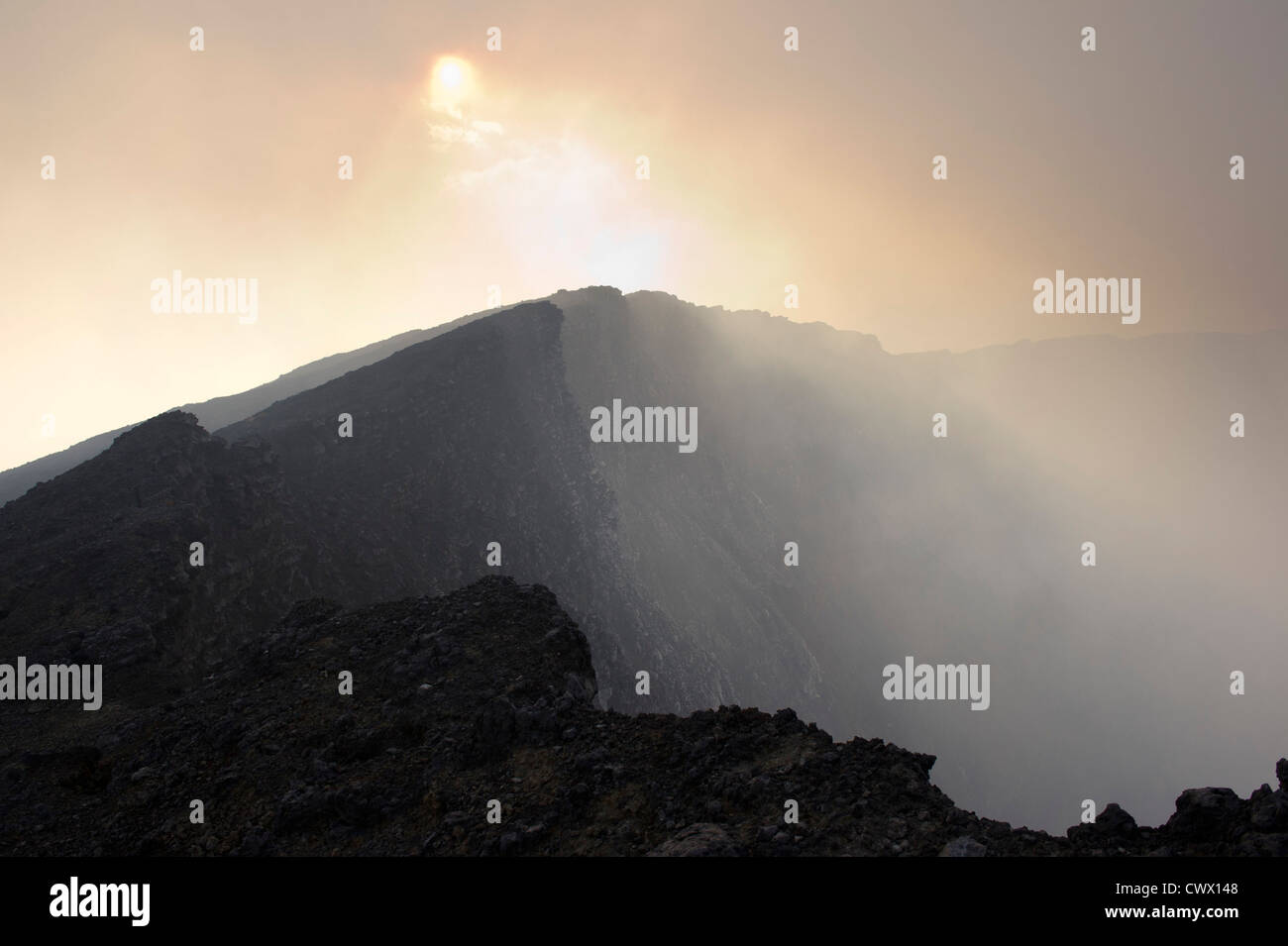 The rim of Nyiragongo Volcano, Virunga National Park, DR Congo - Stock Image