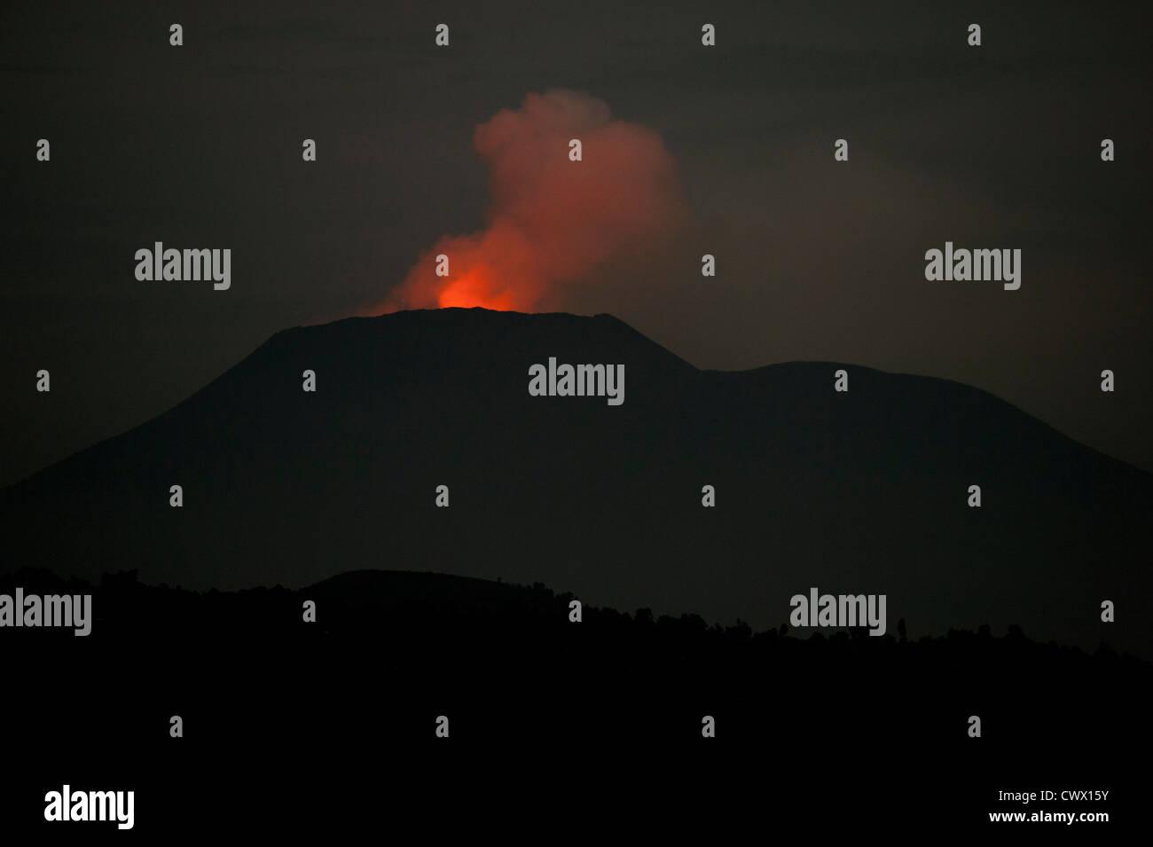 Nyiragongo Volcano, Virunga National Park, DR Congo - Stock Image