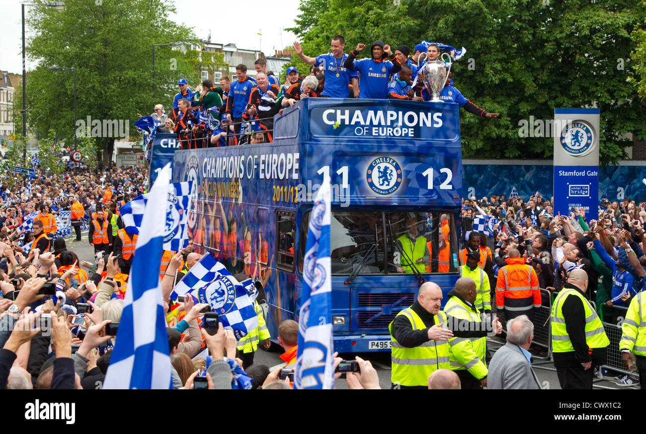 Chelsea football club parade the European cup in the Fulham road - Stock Image