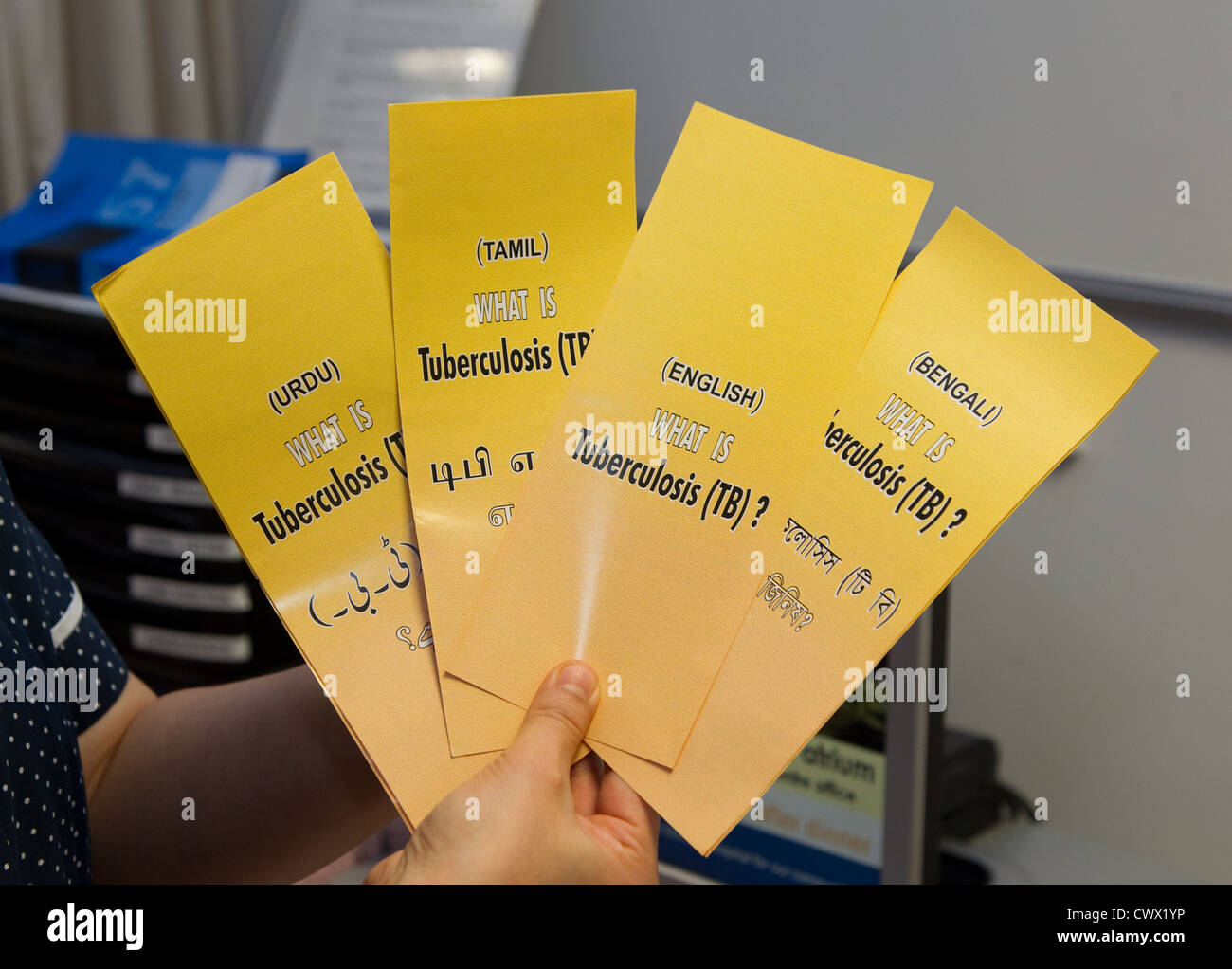 Tuberculosis leaflets in different languages - Stock Image