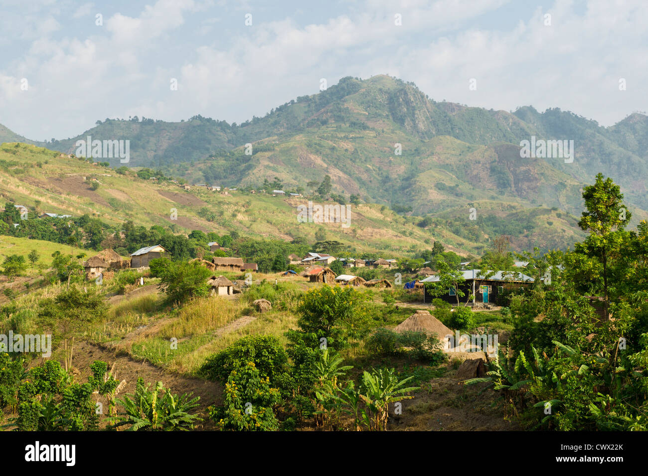 Village near Tonga outside Virunga National Park, DR Congo - Stock Image