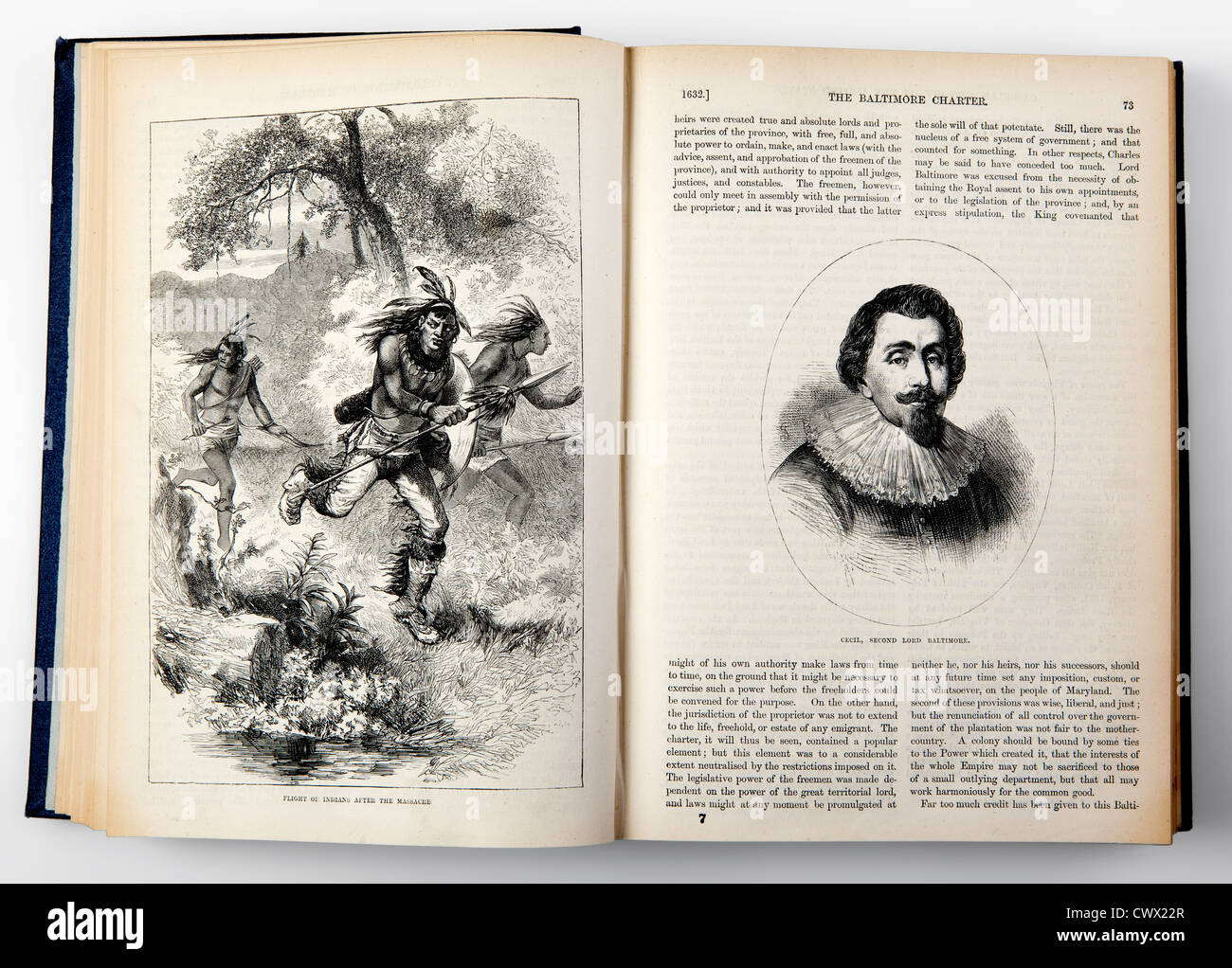 An open book from the 19th century, history of the United States with an image of a native American - Stock Image