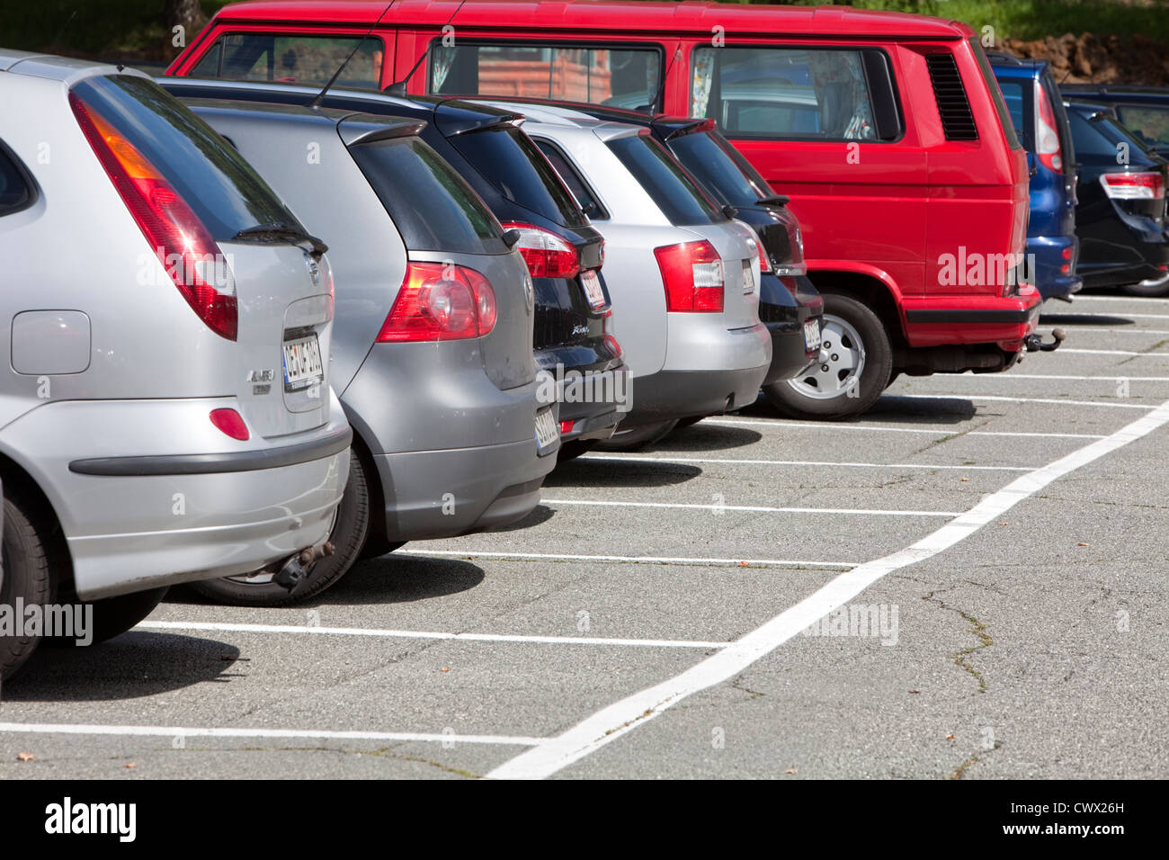 Occupied parking area, concept image, parking spaces in Germany, Europe - Stock Image