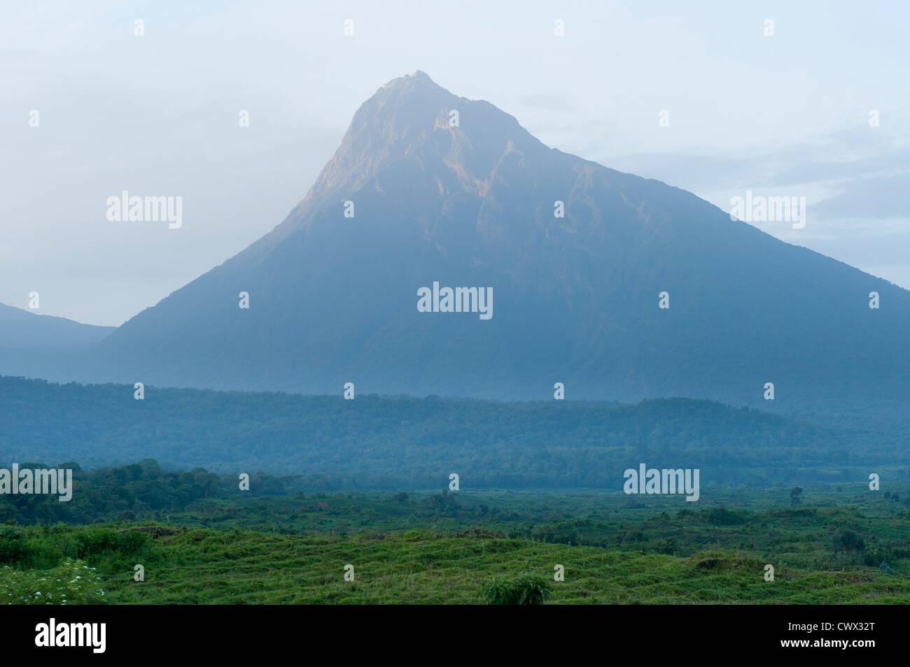Volcano Mount Mikeno, Virunga National Park, DR Congo - Stock Image
