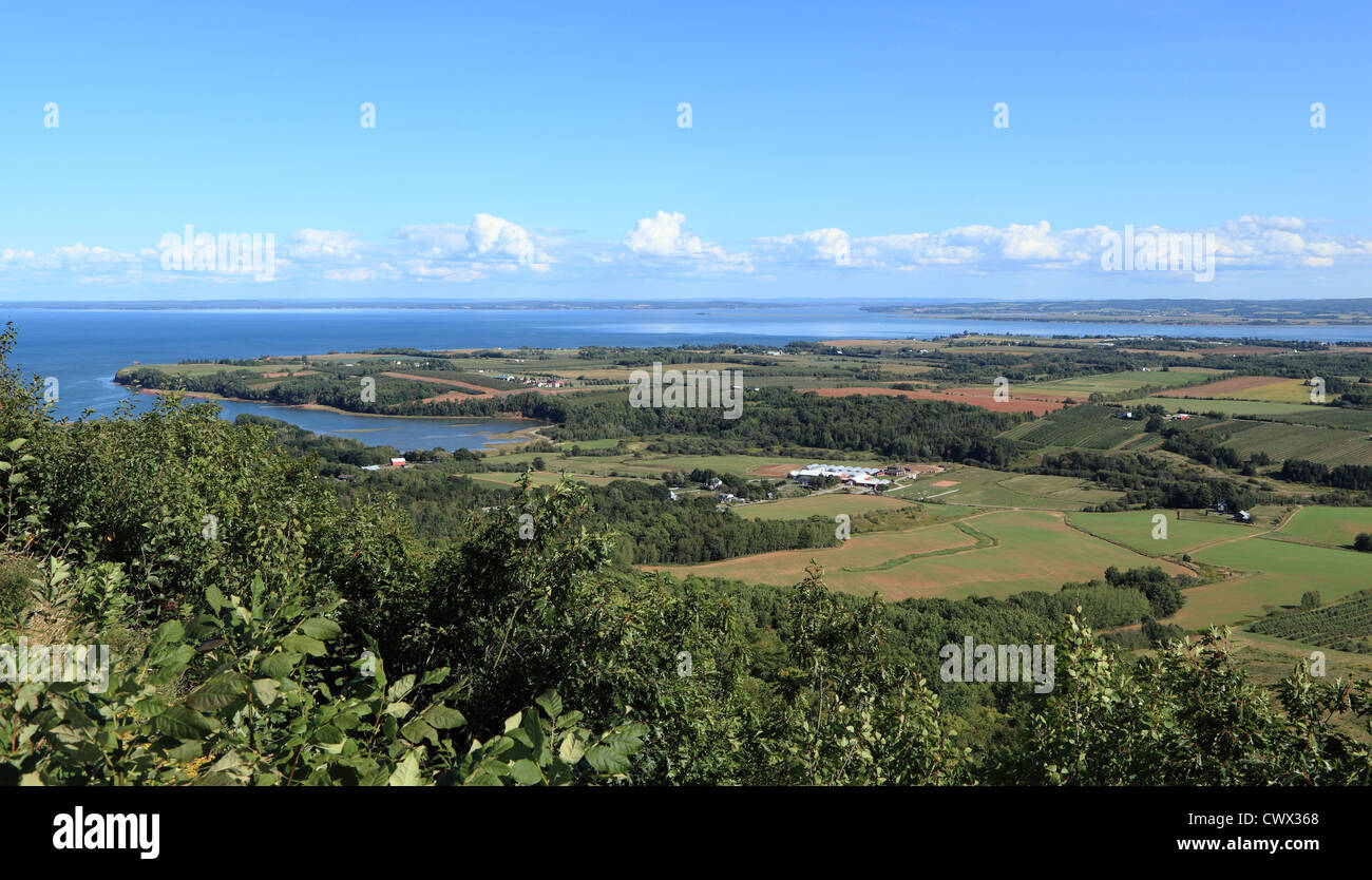 View of Annapolis Valley and the Bay of Fundy from The Lookoff on North Mountain, Nova Scotia, Canada. - Stock Image