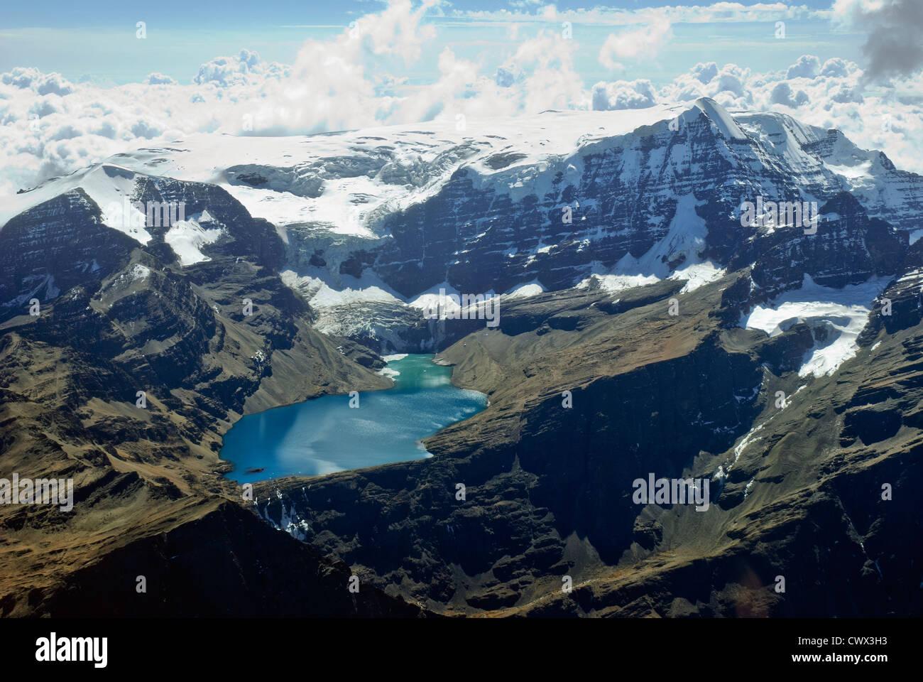 Aerial view of the mountain Mururata, Cordillera of the Andes Stock Photo