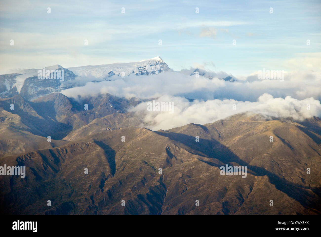 Aerial view of the mountain Mururata, Cordillera of the Andes - Stock Image