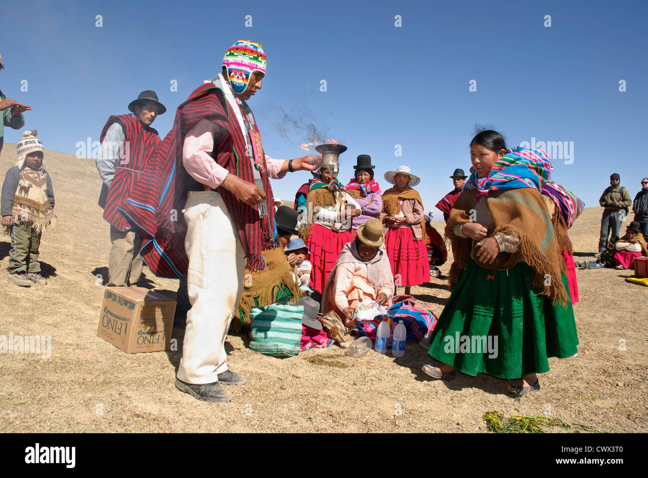 Ritual offerings to the Pachamama - Stock Image