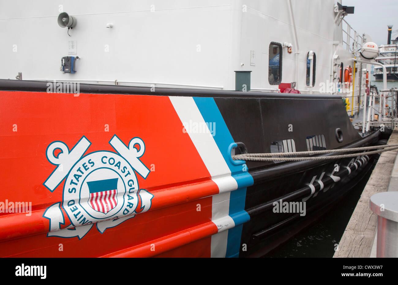The U.S. Coast Guard cutter Katmai Bay, docked on the Detroit River - Stock Image