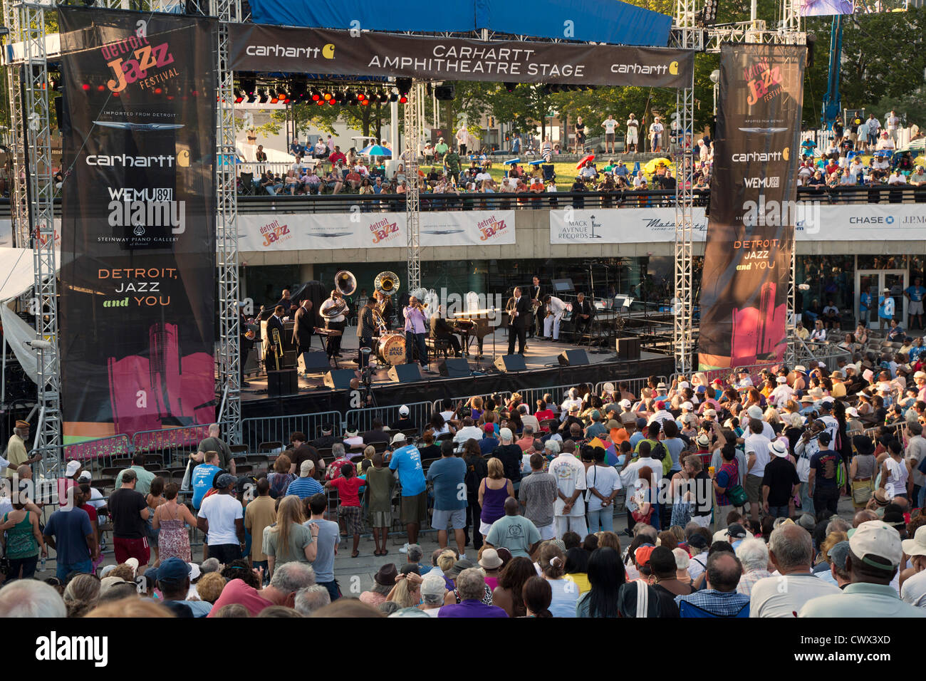 Detroit, Michigan - The Preservation Hall Jazz Band plays at the Detroit Jazz Festival. - Stock Image