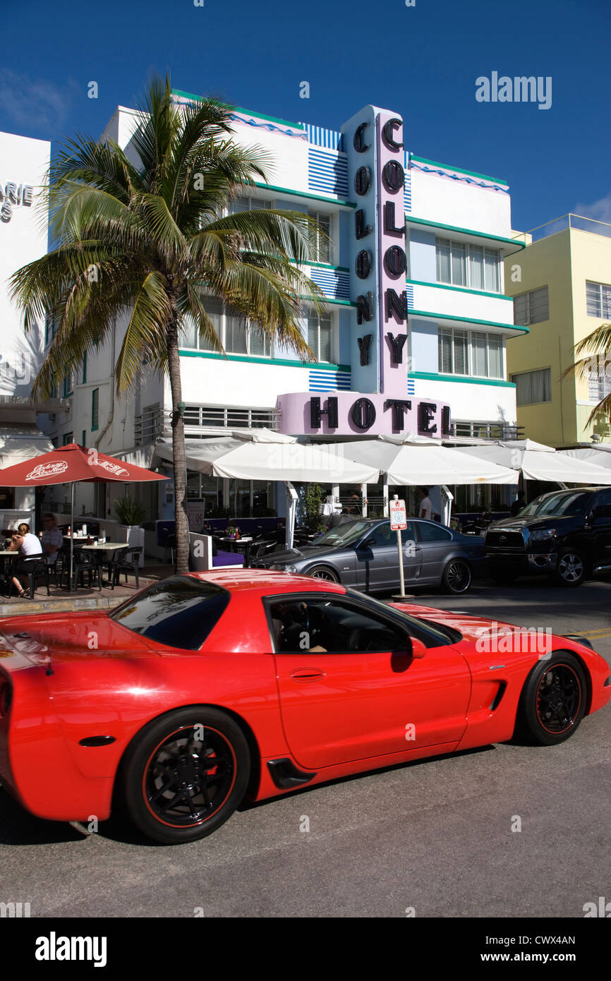 2010 RED CORVETTE SPORTS CAR COLONY HOTEL OCEAN DRIVE SOUTH BEACH MIAMI BEACH FLORIDA USA - Stock Image