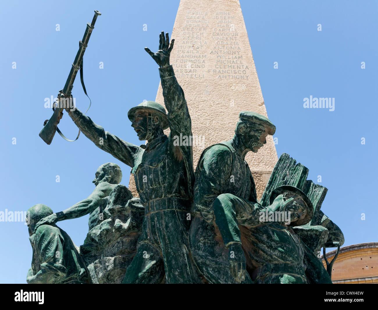 The War memorial in the square at Zabbar, Island of Malta, Mediterranean Sea. - Stock Image