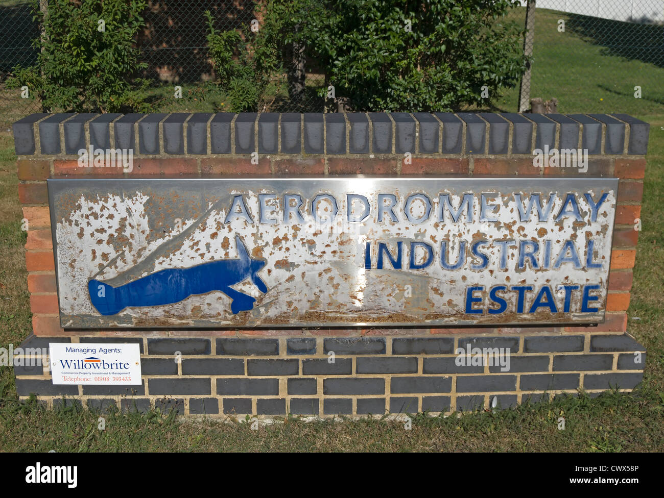 sign for aerodrome way industrial estate, cranford, middlesex, england, which occupies the former site of  heston - Stock Image