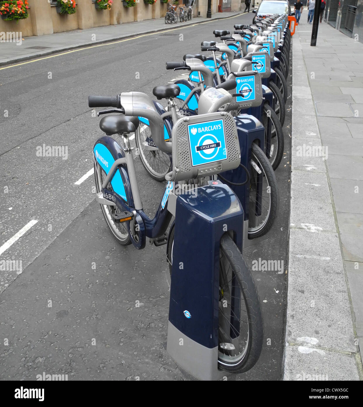 No shortage of bikes bicycles cycles for hire in London - EDITORIAL USE ONLY - Stock Image