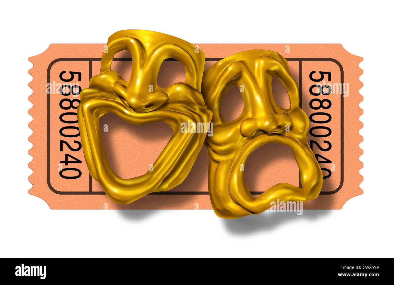 Movie ticket stub with gold comedy and tragedy masks symbol represented by two theatrical expressions with one face - Stock Image
