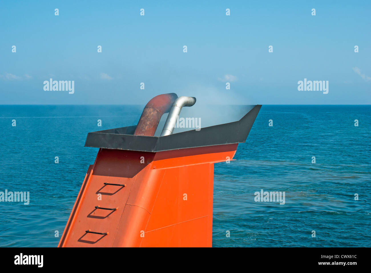 Chimney of ferry boat in Greece linking the islands to mainland - Stock Image