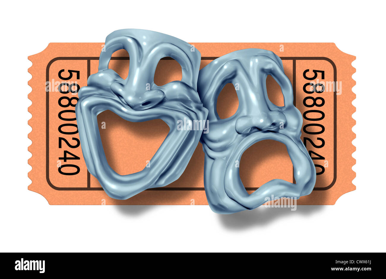 Movie ticket stub with silver comedy and tragedy masks symbol represented by two theatrical expressions with one - Stock Image