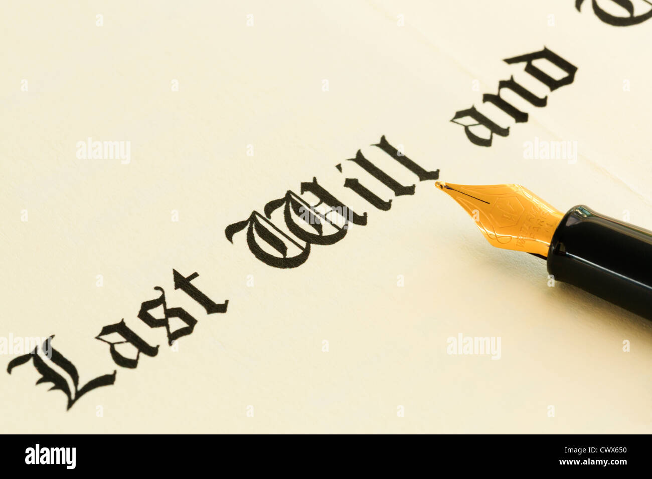 Last Will and Testament document with a fountain pen for signing - Stock Image